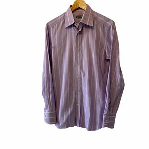 MENS TOM FORD Purple Striped Fitted Dress Shirt 39